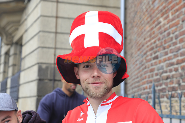 Danish fan at sign on in Dusseldorf before the start of Stage 2 of the 104th edition of the Tour de France 2017, running 203.5km from Dusseldorf, Germany to Liege, Belgium. 2nd July 2017.<br /> Picture: Eoin Clarke | Cyclefile<br /> <br /> <br /> All photos usage must carry mandatory copyright credit (&copy; Cyclefile | Eoin Clarke)