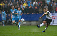 Bolton Wanderers' Dennis Politic shoots at goal from distance<br /> <br /> Photographer Andrew Kearns/CameraSport<br /> <br /> The EFL Sky Bet Championship - Bolton Wanderers v Coventry City - Saturday 10th August 2019 - University of Bolton Stadium - Bolton<br /> <br /> World Copyright © 2019 CameraSport. All rights reserved. 43 Linden Ave. Countesthorpe. Leicester. England. LE8 5PG - Tel: +44 (0) 116 277 4147 - admin@camerasport.com - www.camerasport.com