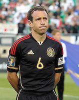 Mexico's Gerardo Torrado waits for the Mexican National Anthem.  Mexico defeated Costa Rica 4-1 at the 2011 CONCACAF Gold Cup at Soldier Field in Chicago, IL on June 12, 2011.