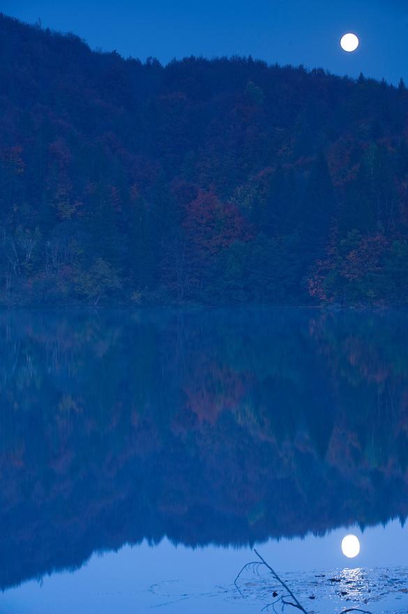 Moonlight over Proscansko lake, Upper Lakes, Plitvice National Park, Croatia