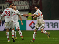 celebrate the goal, Torjubel zum 2:1 Jonas Hector (1. FC Koeln) mit Ellyes Skhiri (1. FC Koeln) - 18.12.2019: Eintracht Frankfurt vs. 1. FC Koeln, Commerzbank Arena, 16. Spieltag<br /> DISCLAIMER: DFL regulations prohibit any use of photographs as image sequences and/or quasi-video.