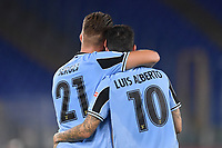 Luis Alberto of SS Lazio (R) celebrates with Sergej Milinkovic-Savic after scoring the goal of 2-1 during the Serie A football match between SS Lazio and ACF Fiorentina at stadio Olimpico in Roma ( Italy ), June 27th, 2020. Play resumes behind closed doors following the outbreak of the coronavirus disease. Photo Antonietta Baldassarre / Insidefoto