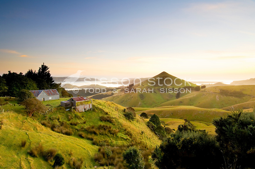 Harbour Cone and the Otago Peninsula towards Tairoa Head at sunrise, Otago, South Island, New Zealand - stock photo, canvas, fine art print
