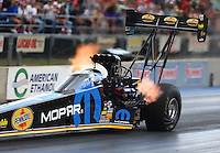 Jul 23, 2016; Morrison, CO, USA; NHRA top fuel driver Leah Pritchett during qualifying for the Mile High Nationals at Bandimere Speedway. Mandatory Credit: Mark J. Rebilas-USA TODAY Sports