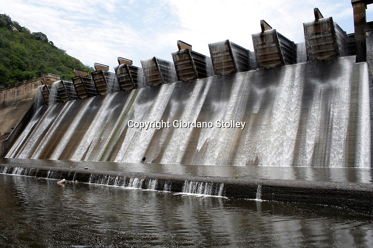 """DURBAN - 31 December 2005 - The Shongweni Dam Wall on the outskirts of Durban. with the largest """"Hydroplus Fuse Gate"""" system in the world. For the historian, the original water works are preserved as a national monument and surrounding the dam is a game park which stocks Rhino, Buffalo, Giraffe, Zebra, Impala, Waterbuck, Kudu, Wildebeest, Caracal, Black backed Jackal, Dassie, Warthog, Ostrich, 3 Duiker species, Mongoose and the smaller mammals as well as 200 species of bird..Picture: Giordano Stolley"""