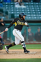 Jose Rojas (1) of the Salt Lake Bees bats against the Sacramento River Cats at Smith's Ballpark on April 12, 2019 in Salt Lake City, Utah. The River Cats defeated the Bees 4-2. (Stephen Smith/Four Seam Images)