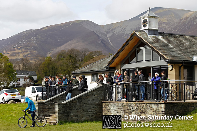 Keswick 1 Kendal 1, 15/04/2017. Fitz Park, Westmoreland League. Spectators watching from the clubhouse. Photo by Paul Thompson.