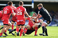 Louis-Benoit Madaule of Toulouse is tackled to ground. Heineken Champions Cup match, between Bath Rugby and Stade Toulousain on October 13, 2018 at the Recreation Ground in Bath, England. Photo by: Patrick Khachfe / Onside Images