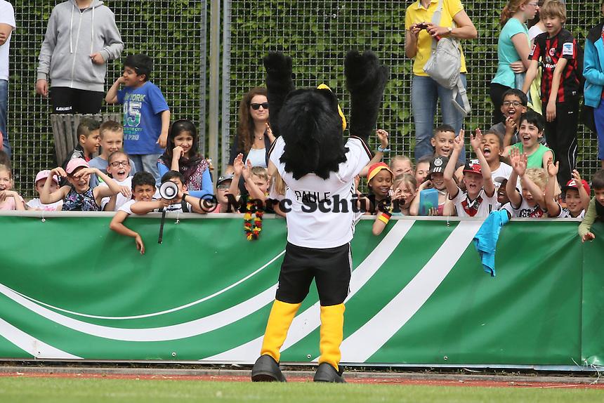 DFB Maskottchen Paule macht mit Kindern Stimmung - Deutschland vs. Irland, U18-Freundschaftsspiel, Stadion am Sommerdamm, Rüsselsheim