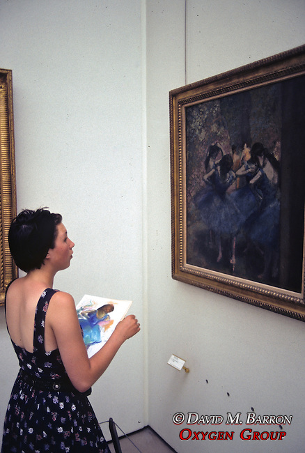 Art Student Making Water Color At Musee d'Orsay of Danseuses Bleues.By Edgar Degas