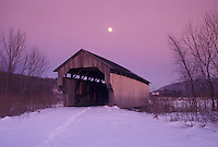 covered bridge, Cambridge, Vermont, VT, Full moon, covered bridge, snow, evening, winter.