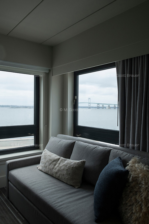 A newly renovated guest room is seen at Gurney's Newport Resort and Marina, which was formerly a Hyatt Regency hotel, on Goat Island in Newport, Rhode Island, on Wed., April 19, 2017. The entire hotel will be renewed with an approximately $18 million renovation to be completed by Memorial Day 2017.