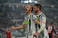 30th October 2019; Allianz Stadium, Turin, Italy; Serie A Football, Juventus versus Genoa; Leonardo Bonucci of Juventus celebrates after scoring the goal for 1-0 in the 37th minute - Editorial Use