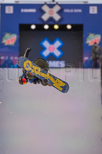 26.02.2016. Wyller Oslo Winter Park, Oslo, Norway. Red Bull X Games. Mens Snowboard Big Air  Round 1. Torgeir Bergrem of Norway competes in the men's Snowboard Big Air Elimination during the X Games Oslo 2016 at the Wyller Oslo winter park in Oslo, Norway.