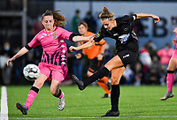 defender Chrystal Lermusiaux of Sporting Charleroi pictured in a fight for the ball with Woluwe's Sheila Broos (20) during a female soccer game between Sporting Charleroi and FC Femina White Star Woluwe on the second matchday of the 2020 - 2021 season of Belgian Scooore Women s SuperLeague , friday 4 th of September 2020  in Marcinelle , Belgium . PHOTO SPORTPIX.BE | SPP | DAVID CATRY