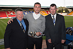 St Johnstone Player of the Year Awards 2014-15.....16.05.15<br /> Ronnie and David Mitchell present the Highland Saints Magic Moment for 2014-15 to Tam Scobbie for his final penalty in the shootout versus Luzern<br /> Picture by Graeme Hart.<br /> Copyright Perthshire Picture Agency<br /> Tel: 01738 623350  Mobile: 07990 594431