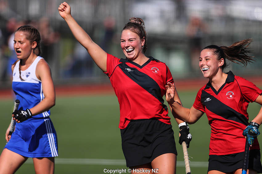 Canterbury Women celebrate. Under 21 National Hockey Championships, North Harbour Hockey Stadium, Auckland, Saturday 11 May 2019. Photo: Simon Watts/Hockey NZ