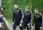 Stephen McManus, David Clarkson and Stephen Pearson arrive for training