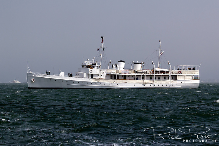 Franklin Delano Roosevelt's former presidential yacht USS Potomac (AG-25) carries passengers during the 2013 Americas Cup races. Formerly the USCGC Electra,the vessel served as presidential yacht from 1936 until his death in 1945. It is one of only three still existing presidential yachts.<br />