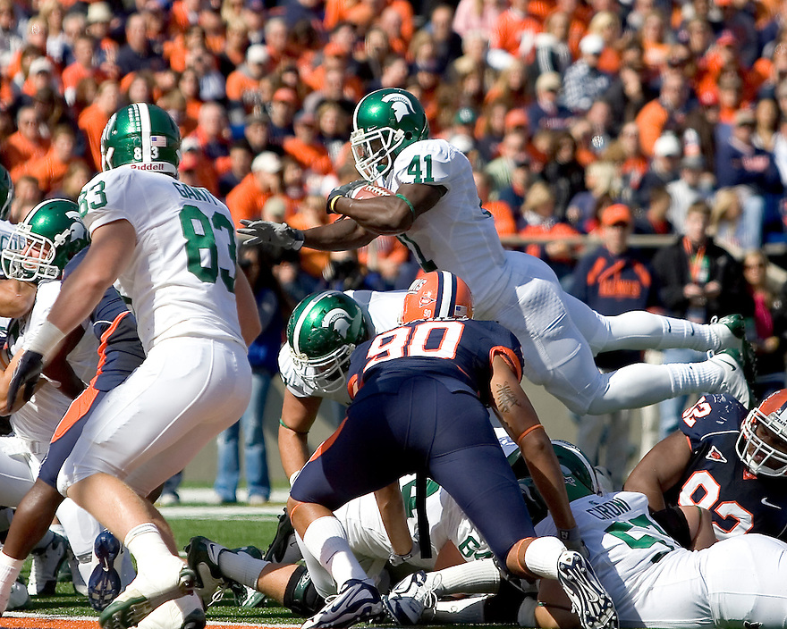 October 9, 2009 - Champaign, Illinois, USA - Michigan State running back 41 Glen Winston leaps over the pile in the game between the University of Illinois and Michigan State at Memorial Stadium in Champaign, Illinois.  Michigan State defeated Illinois 24 to 14.  .