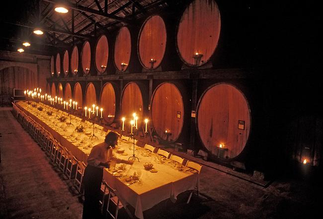 Preparing dinner in Cask Room of Merryvale Vineyards, St. Helena