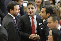 BOGOTA -COLOMBIA. 20-07-2014. Carlos Fernando Galan (Izq) y Rodrigo Lara (Der) senadores electos durante la Instalación del Congreso de la República de Colombia por parte del presidente, Juan Manuel Santos./ Carlos Fernando Galan (L) and Rodrigo Lara (R)  senators elected during the installation of the Congress of the Republic of Colombia by the president, Juan Manuel Santos. Photo: VizzorImage/ Gabriel Aponte / Staff