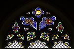 Stained glass east window tracery, Shimpling church, Suffolk, England, UK c 1842 by William Warrington
