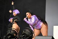 SHEPTON MALLET, ENGLAND - JUNE 29: Lizzo performing at Glastonbury Festival, Worthy Farm, Pilton, on June 29, 2019 in Shepton Mallet, England.<br /> CAP/MAR<br /> ©MAR/Capital Pictures