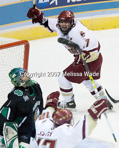 Ben Smith (Boston College - Avon, CT) and Joe Rooney (Boston College - Canton, MA) celebrate Bertram's game tying goal. The Boston College Eagles defeated the University of North Dakota Fighting Sioux 6-4 in their 2007 Frozen Four semi-final on Thursday, April 5, 2007, at the Scottrade Center in St. Louis, Missouri.