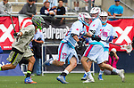 Costa Mesa, CA 06/08/13 - Jimmy Borell (Team Maverik #24) and Benson Erwin (Team STX #37) in action during the inaugural game of the LXMPRO Tour in Orange County.  The Team STX defeated Team Maverik 14-13 at Orange Coast College's Bard Stadium.