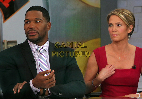 NEW YORK, NY - MAY 29: Michael Strahan and Amy Robach at ABC's Good Morning America in New York City on May 29, 2014.  <br /> CAP/MPI/RW<br /> &copy;RW/ MediaPunch/Capital Pictures