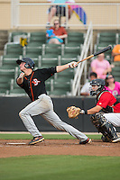 Cameron Kneeland (9) of the Delmarva Shorebirds follows through on his swing against the Kannapolis Intimidators at CMC-Northeast Stadium on June 7, 2015 in Kannapolis, North Carolina.  The Shorebirds defeated the Intimidators 9-1.  (Brian Westerholt/Four Seam Images)