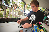 BEN DUNN (AUS)  preparing his surfboards,Teahupoo, Tahiti, Monday May 4 2009. Photo: joliphotos.com