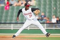 Kannapolis Intimidators starting pitcher Robinson Leyer (20) in action against the Hickory Crawdads at CMC-Northeast Stadium on May 18, 2014 in Kannapolis, North Carolina.  The Intimidators defeated the Crawdads 6-5 in 10 innings.  (Brian Westerholt/Four Seam Images)