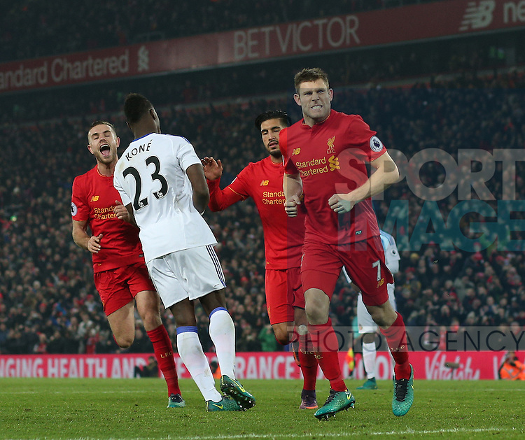 James Milner of Liverpool (C) celebrates scoring the second goal during the Premier League match at the Anfield Stadium, Liverpool. Picture date: November 26th, 2016. Pic Simon Bellis/Sportimage