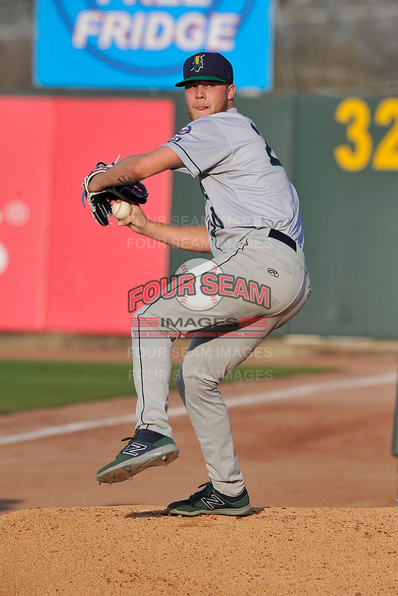 Cedar Rapids Kernels starting pitcher Blayne Enlow (20) throws a pitch in the bullpen prior to the game against the Quad Cities River Bandits at Veterans Memorial Stadium on April 16, 2019 in Cedar Rapids, Iowa.  The Kernels won 11-2.  (Dennis Hubbard/Four Seam Images)