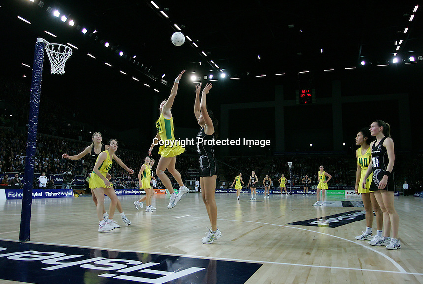 18.07.2007 Action during the Silver Ferns v Australia Fisher and Paykel Netball Test Match at Vector Arena, Auckland. Mandatory Photo Credit ©Michael Bradley.
