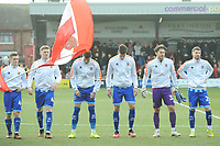 Blackpool's Connor Ronan, Taylor Moore, Gary Madine, Ben Heneghan, Chris Maxwell and James Husband<br /> <br /> Photographer Kevin Barnes/CameraSport<br /> <br /> The EFL Sky Bet League One - Fleetwood Town v Blackpool - Saturday 7th March 2020 - Highbury Stadium - Fleetwood<br /> <br /> World Copyright © 2020 CameraSport. All rights reserved. 43 Linden Ave. Countesthorpe. Leicester. England. LE8 5PG - Tel: +44 (0) 116 277 4147 - admin@camerasport.com - www.camerasport.com