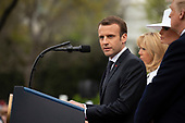 French President Emmanuel Macron speaks on the South Lawn of the White House during the French State Visit to the United States on April 24, 2018 in Washington, DC. Credit: Alex Edelman / Pool via CNP