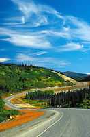 Alaska Highway winding through the Canadian North<br /> Alaska Highway <br /> Yukon<br /> Canada