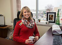NWA Democrat-Gazette/BEN GOFF @NWABENGOFF<br /> Channing Barker, Benton County communications director, poses for a photo Thursday, Dec. 28, 2017, in her office at the Benton County Administration Building in downtown Bentonville.