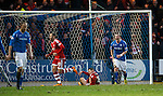 St Johnstone v Aberdeen...06.02.16   SPFL   McDiarmid Park, Perth<br /> Tam Scobbie screams at Steven Anderson after the third goal was conceded<br /> Picture by Graeme Hart.<br /> Copyright Perthshire Picture Agency<br /> Tel: 01738 623350  Mobile: 07990 594431
