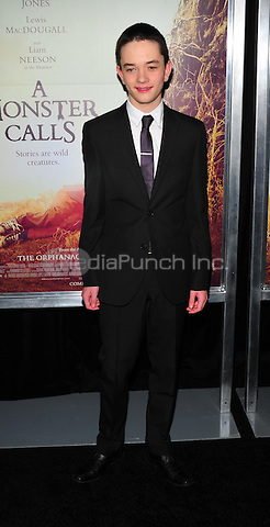 New York, NY: December 7: Lewis MacDougall attends 'A Monster Calls' New York Premiere at AMC Loews Lincoln Square 13 theater on December 7, 2016 in New York City.@John Palmer / Media Punch