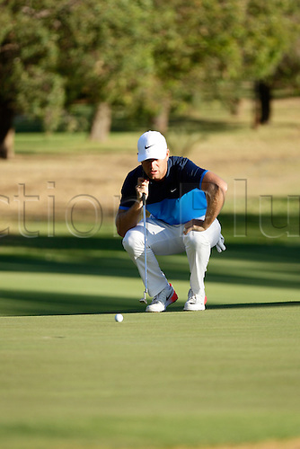 26.02.2016. Perth, Australia. ISPS HANDA Perth International Golf. Lucas Bjerregaard (DEN) lines up his putt on the 10th green during day 2.