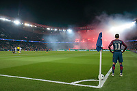 Angel Di Maria (psg) is waiting the end of torch of distress from supporters Ultras PSG<br /> Parigi 07-03-2018 Allianz Arena <br /> Paris Saint Germain - Real Madrid Quarti di finale ritorno Champions League 2017/2018<br /> Foto Panoramic / Insidefoto