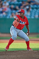 Orem Owlz starting pitcher Jeans Flores (13) delivers a pitch to the plate against the Ogden Raptors at Lindquist Field on September 3, 2019 in Ogden, Utah. The Raptors defeated the Owlz 12-0. (Stephen Smith/Four Seam Images)