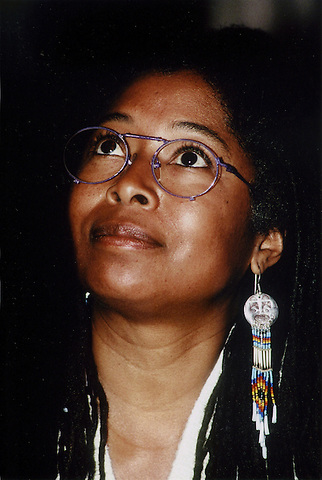 Alice Walker, Pulitzer Prize winning author of The Color Purple, civil and human rights activist, at Tufts University Medford MA, December 8, 1989