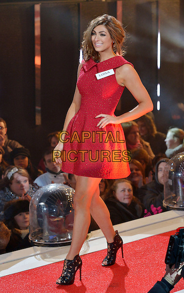 BOREHAMWOOD, ENGLAND - JANUARY 03:  Luisa Zissman of The Apprentice enters the Celebrity Big Brother House at TV show launch, Elstree Studios on January 3, 2014 in Borehamwood, England. <br /> CAP/NJ<br /> &copy;Nils Jorgensen/Capital Pictures