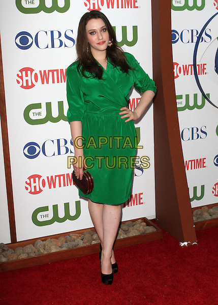 Kat Dennings.CBS, CW and Showtime Summer 2011 TCA Party held at The Pagoda, Beverly Hills, California, USA..August 3rd, 2011.full length green dress wrap black shoes clutch bag bronze hand on hip.CAP/ADM/KB.©Kevan Brooks/AdMedia/Capital Pictures.