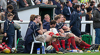 The Bench during the Greene King IPA Championship match between London Scottish Football Club and Jersey at Richmond Athletic Ground, Richmond, United Kingdom on 7 November 2015. Photo by Andy Rowland.